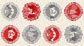 "Makower Scandi Circle Panel - 2361 - Christmas - 60cm x 112cm (24"" x 44"")"