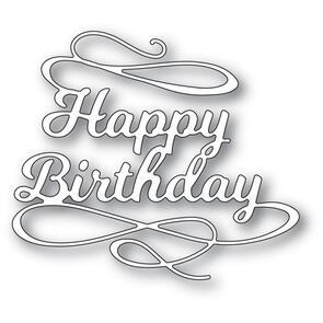 Poppystamps  Happy Birthday Flourish Die