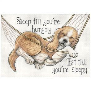 Dimensions  Puppy & Quote - The Good Life - Cross Stitch Kit