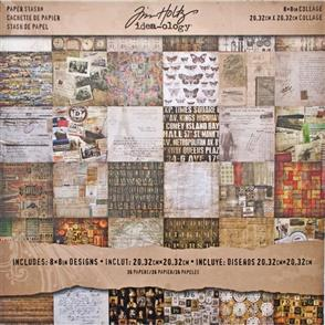 "Idea-Ology Tim Holtz Paper Stash - Collage - 36 Papers 8""x8"""