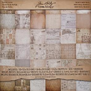 "Idea-Ology Tim Holtz - French Industrial 12""x12"" Paper Stash"