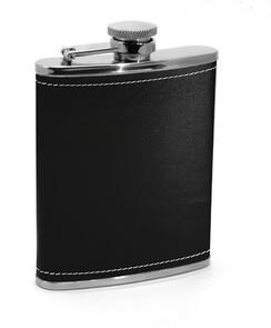 Metrokane  Houdini Pocket Flask, 6oz, Black Leather