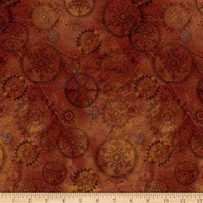 QT Fabrics  - Steampunk Halloween Gears - Brown