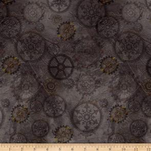 QT Fabrics  - Steampunk Halloween Gears - Smoke