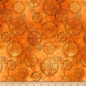 QT Fabrics  - Steampunk Halloween Gears - Orange