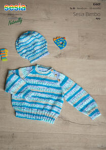 Sesia Knitting Pattern K449 - Raglan Sweater and Hat