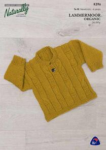 Naturally Lammermoor Organic - K396 Four Cable Sweater - Knitting Patterns