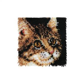 "Caron Wonderart  Latch Hook Kit - Tabby Cat - 12"" x 12"""