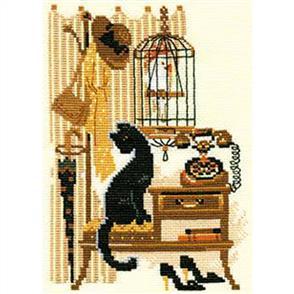 Riolis  Cat with Telephone - Cross Stitch Kit