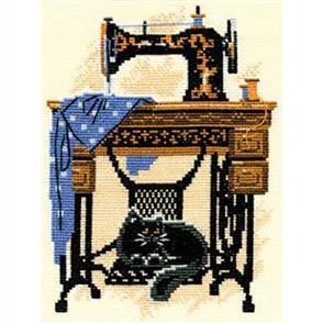 Riolis  Cat with Sewing Machine - Cross Stitch Kit
