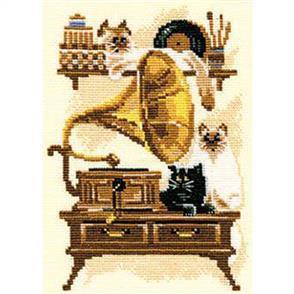 Riolis  Cat with Gramophone - Cross Stitch Kit