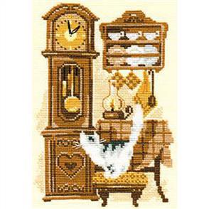 Riolis  Cat with Clock - Cross Stitch Kit