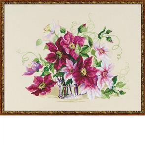 Riolis  Clematis - Cross Stitch Kit Premium