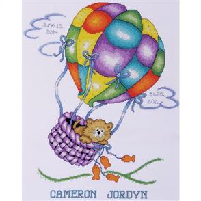 Tobin  Balloon Cat Birth Record - Cross Stitch Kit