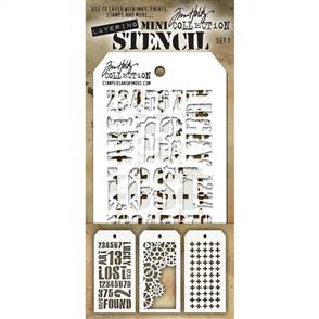 Stampers Anonymous Tim Holtz 3/pk Mini Layering Stencils - Set 1