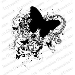 Impression Obsession  Grunge Butterfly - IOS Wood Mounted Stamp
