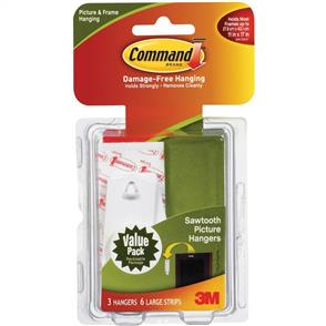 3M  Command - Large Sawtooth Picture Hangers 3pk