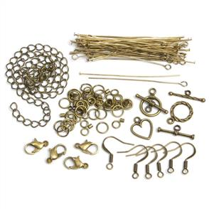 Cousin Jewelry Basics Metal Findings 145/Pkg - Antique Gold Starter Pack