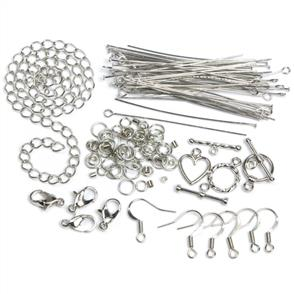Cousin Jewelry Basics Metal Findings 134/Pkg - Silver Starter Pack