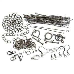Cousin Jewelry Basics Metal Findings 145/Pkg - Gunmetal Starter Pack