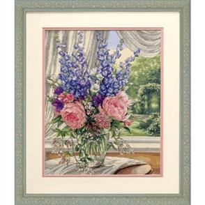 Dimensions  Peonies & Delphiniums - Gold Collection Cross Stitch Kit