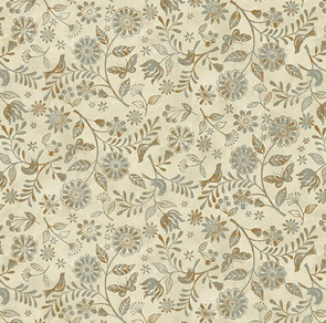 Studio E Fabrics  Le Poulet - 5461-33 - Floral - Cream