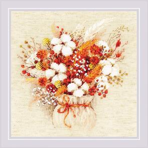 Riolis  Cross Stitch Kit - Bouquet W/ Lagurus And Cotton