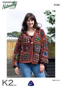 Naturally N1520 Crochet Granny Square Jacket Crochet Pattern
