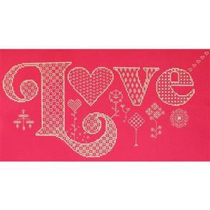 The Stitchsmith  Cross Stitch & Blackwork Kit: Love (Red)