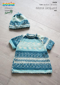Naturally K424 Short Sleeve Raglan Tunic & Hat Knitting Pattern