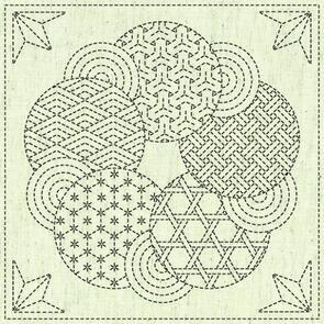 """QH Textiles  Sashiko Squares - Kaza Guruma 3 - 105 - 12""""x12"""""""