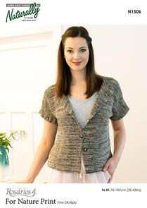 Rosarios 4  Womans Easy Garter Stitch Jacket Pattern, N1506