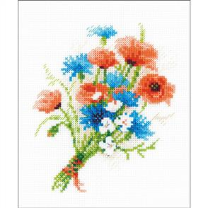 Riolis  1576 Bouquet with Cornflowers - Cross Stitch Kit