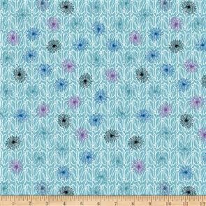 Stof Fabric  - Roadside Flowers - Dandelions & Bugs Aqua