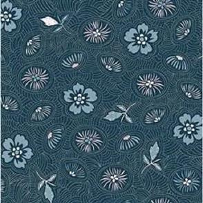 Stof Fabric  - Flowers and Leaves - BLUE/PINK