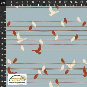 Stof Fabric  Birds On Wires - BLUE