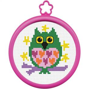 "Bucilla  My 1st Stitch Mini Counted Cross Stitch Kit 3"" Round - Owl"