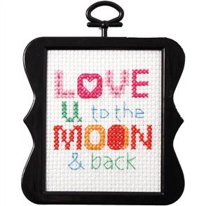 "Bucilla  Beginner Minis Counted Cross Stitch Kit 3""X3"" - Love U To The Moon"