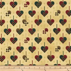 Stof Fabric  Christmas Wonders - Patchwork Hearts Cream/ Gold