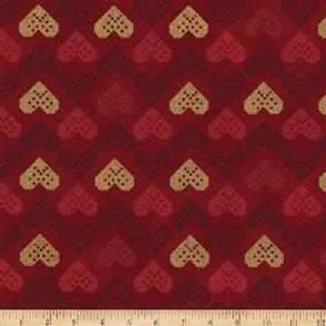Stof Fabric  Christmas Wonders - Hearts Red/Gold