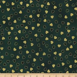 Stof Fabric  Christmas Wonders - Tossed Hearts Green/Gold