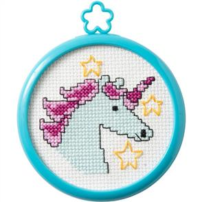 "Bucilla  My 1st Stitch Mini Counted Cross Stitch Kit 3"" Frame - Mystical Unicorn"