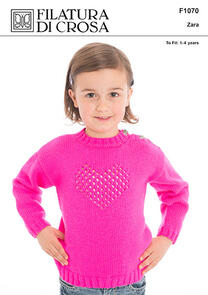 Filatura Di Crosa  Lace Heart Pullover Pattern, Zara to fit 12 months - 4 years