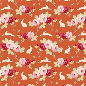 Tilda Tilda Fabric - Cabbage Rose Collection - Rabbit and Rose Ginger