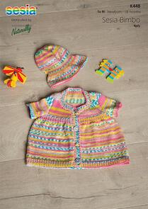 Sesia Knitting Pattern K448 - Short Sleeve Dress and Sun Hat