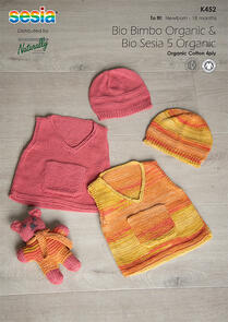 Sesia Knitting Pattern K452 - Vest with Pocket, Hat and Teddy