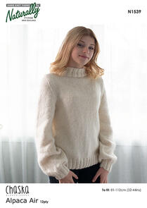 Naturally N1539 Bell Sleeve Sweater Knitting Pattern