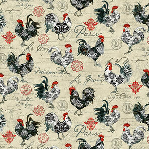 Studio E Fabrics  Le Poulet - 5461-33 - Cream