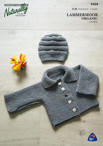 Naturally K434 Garter Stitch Jacket & Hat Knitting Pattern