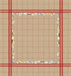 Le Bonheur Des Dames  Tablecloth Bowls Red Stripes - Cross Stitch Kit